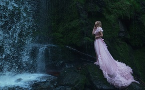 Picture water, girl, reverie, pose, rocks, calm, waterfall, moss, stream, dress, fairy, pink, Princess, nymph, Wallpaper …