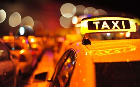 Picture macro, colorful, taxi, roof, the city, blur, plate, wallpaper., lights, the evening, bokeh, machine, auto, ...