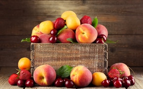 Picture cherry, strawberry, berry, fruit, box, peaches, apricots
