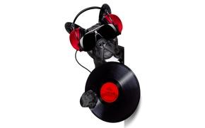 Picture face, music, humor, headphones, glasses, white background, bulldog, vinyl, record, DJ, black, from the corner, …