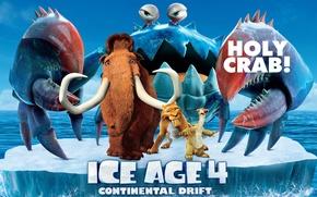 Picture crab, iceberg, sloth, Diego, Led, mammoth, movie, pirates, animation, animated film, Ice age 4, Diego, ...