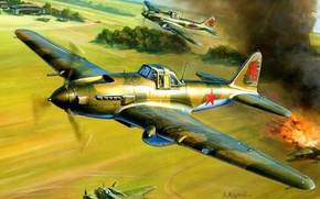 Picture the plane, attack, The great Patriotic war, Soviet, Il-2