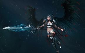 Picture rendering, weapons, wings, sword, armor, helmet, armor, Valkyrie