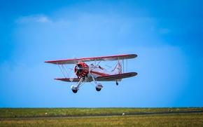 Picture field, the sky, grass, flight, the plane, pilot, runway