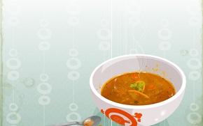 Wallpaper soup, spoon, plate