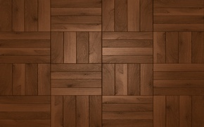 Wallpaper floor, wood, square, dark brown shades