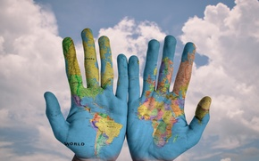 Picture the world, world, map, hands, palm, hands