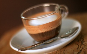 Picture foam, coffee, spoon, Cup, saucer, the aroma of coffee