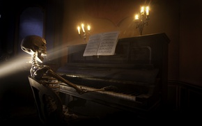 Picture music, skeleton, piano