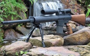 Picture weapons, waterfall, rifle, optical sight, bipod, DPMS
