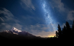 Wallpaper mountain, mountains, landscapes, stars, nature, trees, tree, beautiful places, night, photo, star, forest