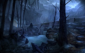 Picture trees, mountains, night, bridge, river, stones, rocks, art