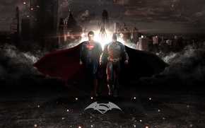 Wallpaper city, cinema, girl, Wonder Woman, Batman, sky, woman, fog, man, Marvel, movie, bat, american, Superman, ...
