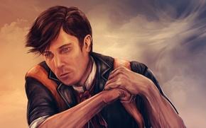 Wallpaper art, male, BioShock Infinite, Booker DeWitt, Troy Baker
