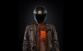 Wallpaper heart, helmet, Sportmotorcycle, ribs, KTM, Motorcyclist, black background, torso