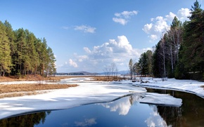 Picture winter, forest, the sky, water, clouds, snow, landscape, nature, lake, pond, Wallpaper, wallpaper, tree