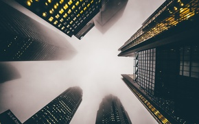 Picture the city, fog, home, skyscrapers, USA, skyscrapers