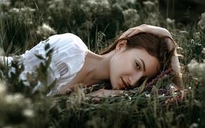 Wallpaper Dima Begma, stay, girl, summer, grass, Dasha