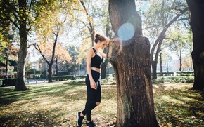 Picture girl, Park, tree