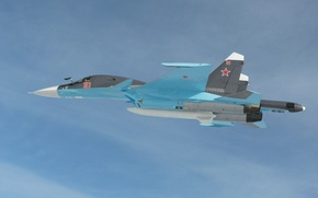 Wallpaper su-34, bomber, flight, the Russian air force, dry