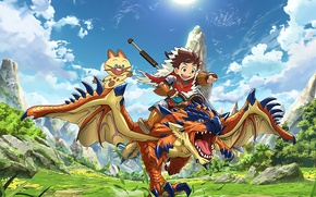Picture sword, game, happy, armor, sky, nothing, anime, cloud, cat, wings, boy, predator, ken, animal, blade, …