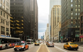 Picture machine, movement, people, street, building, skyscrapers, America, Chicago, Chicago, USA, center, skyscrapers