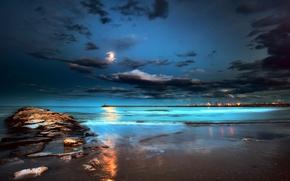 Picture sea, beach, night, lights, the moon, pierce