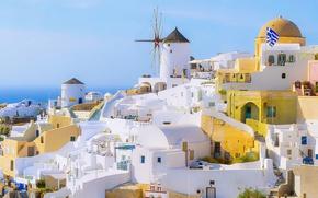Picture summer, white, sea, ocean, houses, flag, architecture, cityscape, Santorini, Greece, sunny