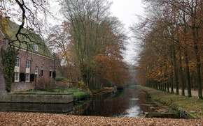 Picture Autumn, Trees, Channel, Park, Fall, Foliage, Park, Autumn, Trees, Overcast, Leaves, Canal