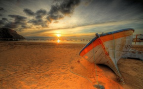 Picture sea, wave, beach, the sky, clouds, sunset, nature, boats