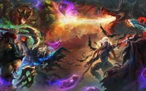 Wallpaper Hearthstone, axe, art, battle, card, dragon, sword, fantasy, heroes