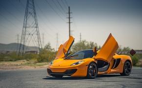 Wallpaper orange, McLaren, orange, high-voltage support, Mp4-12C, McLaren