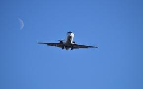 Picture Moon, Sky, Bombardier, Plane, CRJ200, Planespotting