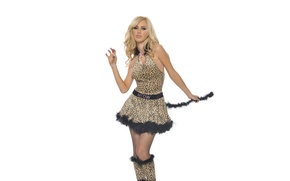 Picture Girl, Look, Cat, White, Blonde, Costume, Background, Feet, Tiffany Toth