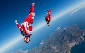 Wallpaper flying, freestyle, training, skydiving, skydivers, headdown, extreme sport, freefly, Will Penny, freeflying, Yohann Aby