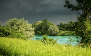 Picture grass, trees, nature, river, Germany, Bayern