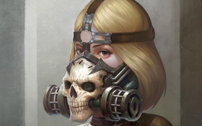 Picture look, girl, fiction, skull, art, gas mask, sci-fi