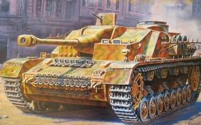Picture figure, art, assault gun, German self-propelled artillery, Sturmgeschütz IV, StuG IV, Sturmgeshutz IV, Shtug IV