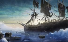 Wallpaper ship, boat, snow, art, cold, building, ice, ice, Blizzard, sailboat