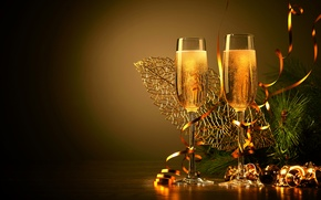 Picture branches, glasses, tree, drink, twilight, tinsel, champagne, bells