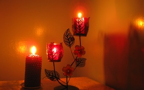 Picture light, fire, holiday, new year, candles, candle holder