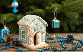Picture decoration, holiday, toys, Board, new year, Christmas, beads, house, tree, bumps, cakes, gingerbread, gingerbread house