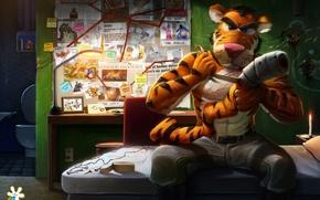 Picture tiger, art, bandages, revenge