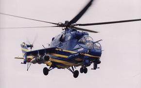 Picture the sky, blue, blades, helicopter, Helicopter, mi 24