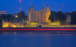 Picture night, river, castle, England, London