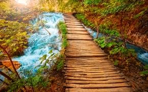 Picture water, bridge, river, stones, waterfall, beauty, logs, track, the bridge, mountain