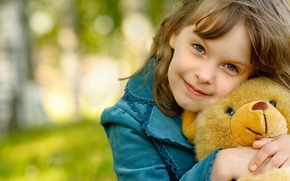 Wallpaper girl, mood, child, nature, background, smile, brown hair, little, hair, joy, a great friend, bear