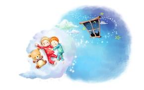 Wallpaper Teddy bear, pajamas, window, stars, childhood, kids, a month, figure, sleep, clouds
