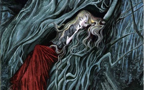 Picture tree, sleep, long hair, enchanted forest, Angel sanctuary, the abode of the angel, Rosiel