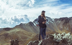 Picture girl, mountains, nature, hugs, pair, guy, lovers, are